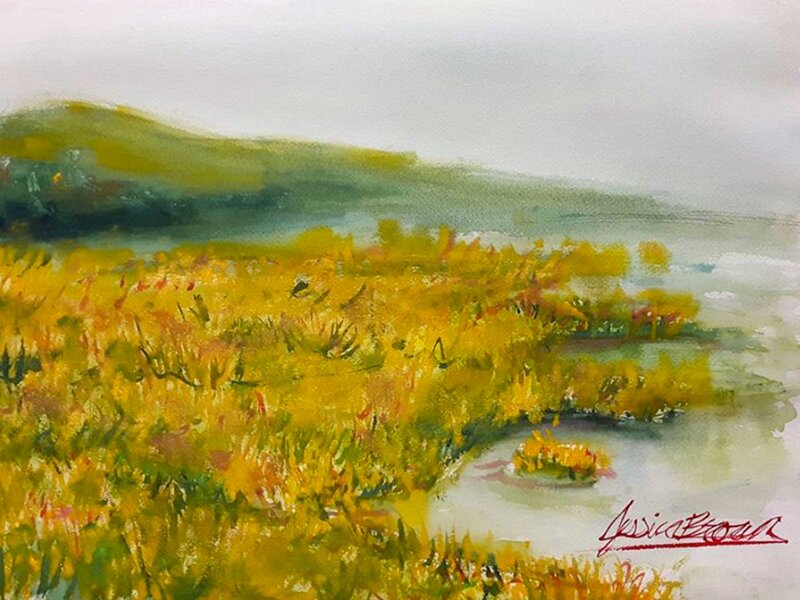 Harvest Gold - Watercolour Painting on Art Paper by Jessica Brown Art and Fashions.