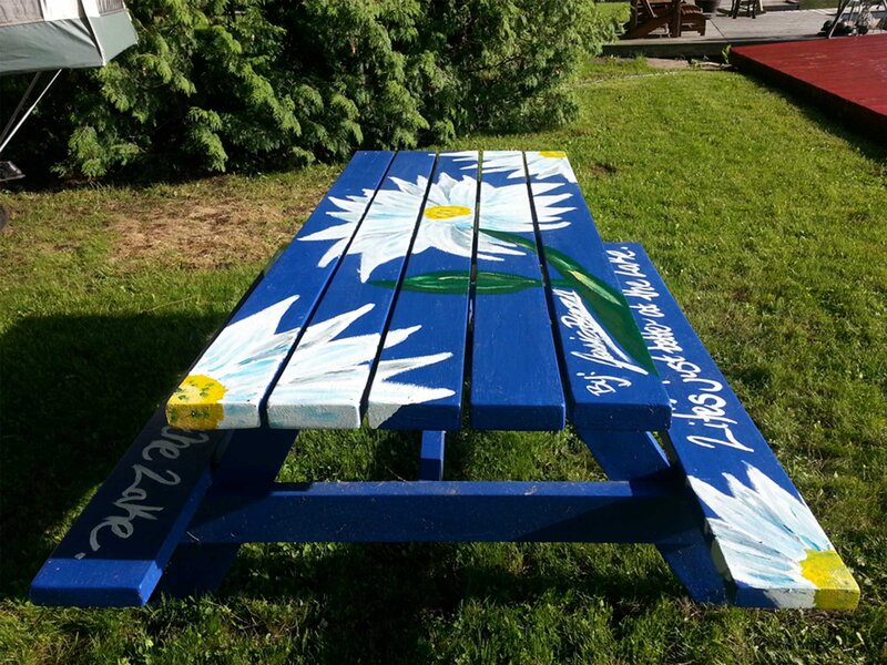 Daisy Mural - Acrylic Painting outdoor picnic table art commission by Jessica Brown Art and Fashions.