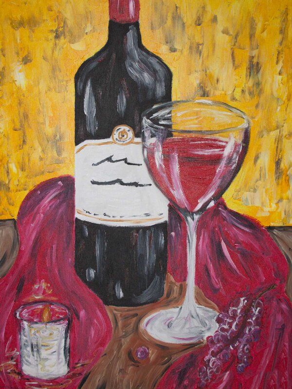 Merlot - Acrylic Painting on Canvas by Jessica Brown Art and Fashions.