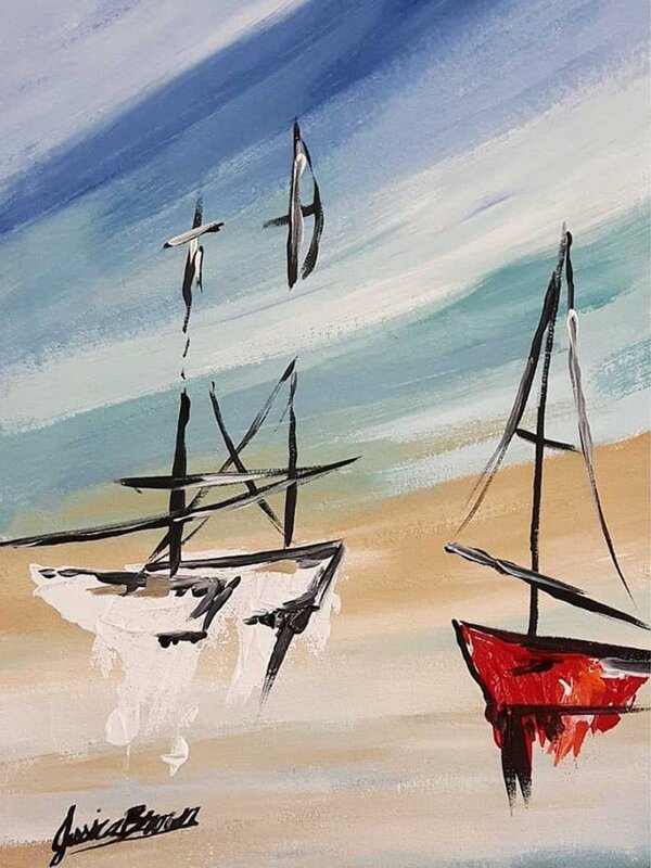 My Sailing Adventure - Acrylic Painting on Canvas by Jessica Brown Art and Fashions.