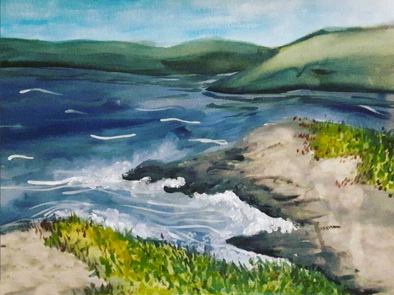 Off the Coast - Watercolour Painting on Art Paper by Jessica Brown Art and Fashions.