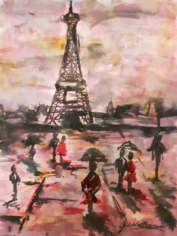 Paris Can Wait - Watercolour Painting on Art Paper by Jessica Brown Art and Fashions.