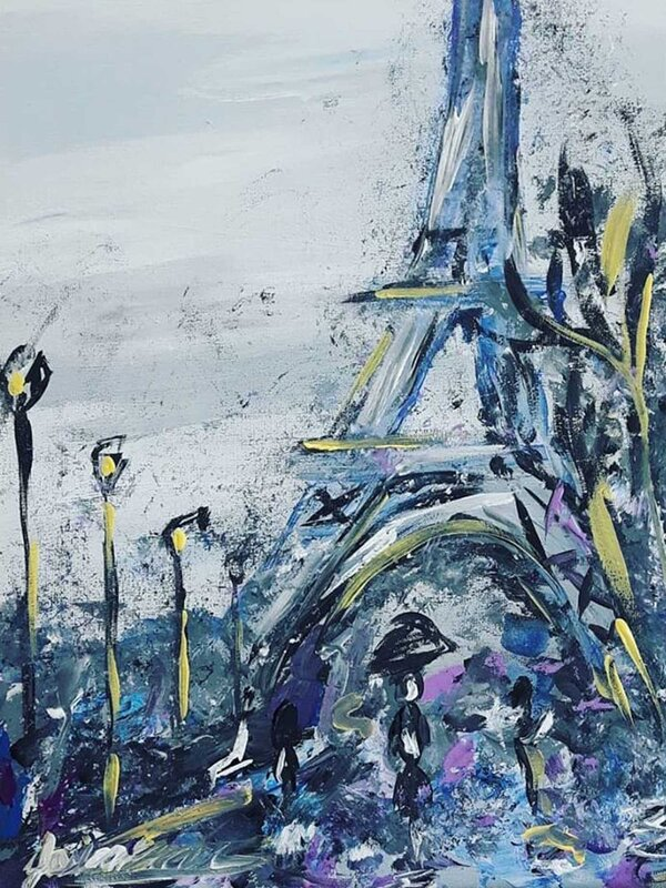 Cloudy day in Paris - Acrylic Painting on Canvas by Jessica Brown Art and Fashions.