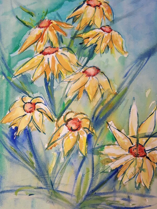 Peaceful Meadows - Watercolour Painting on Art Paper by Jessica Brown Art and Fashions.