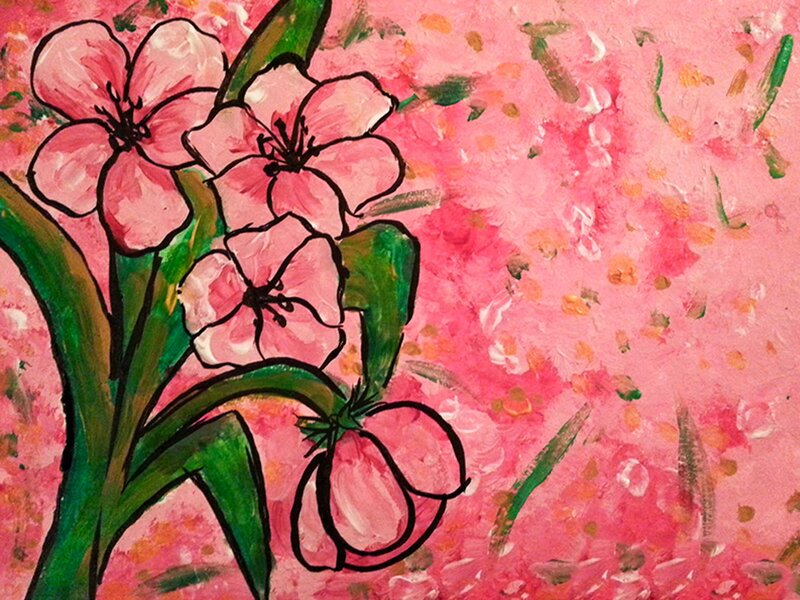 Pink Lillies in Spring - Acrylic Painting on Canvas by Jessica Brown Art and Fashions.