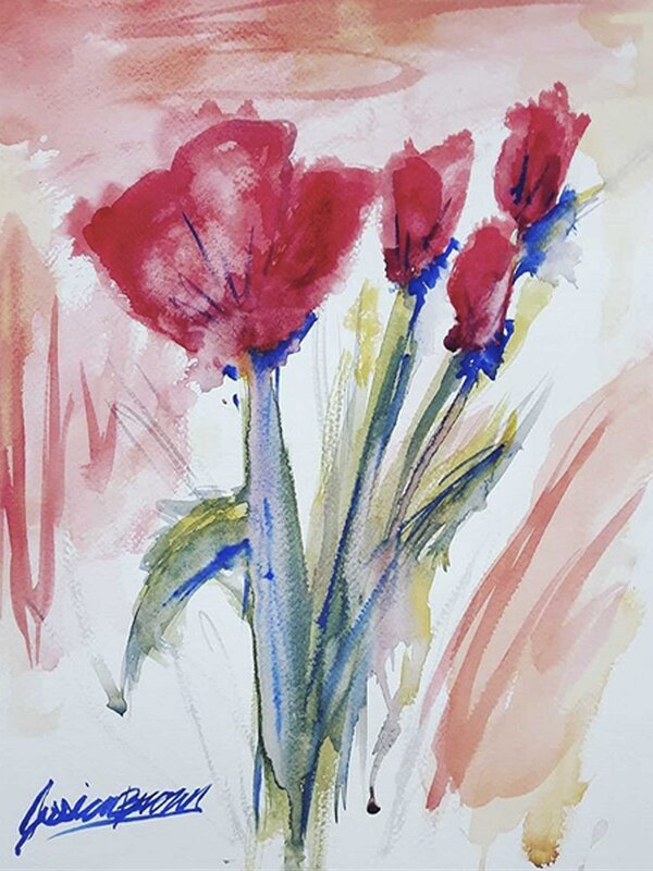Red as Poppies - Watercolour Painting on Art Paper by Jessica Brown Art and Fashions.