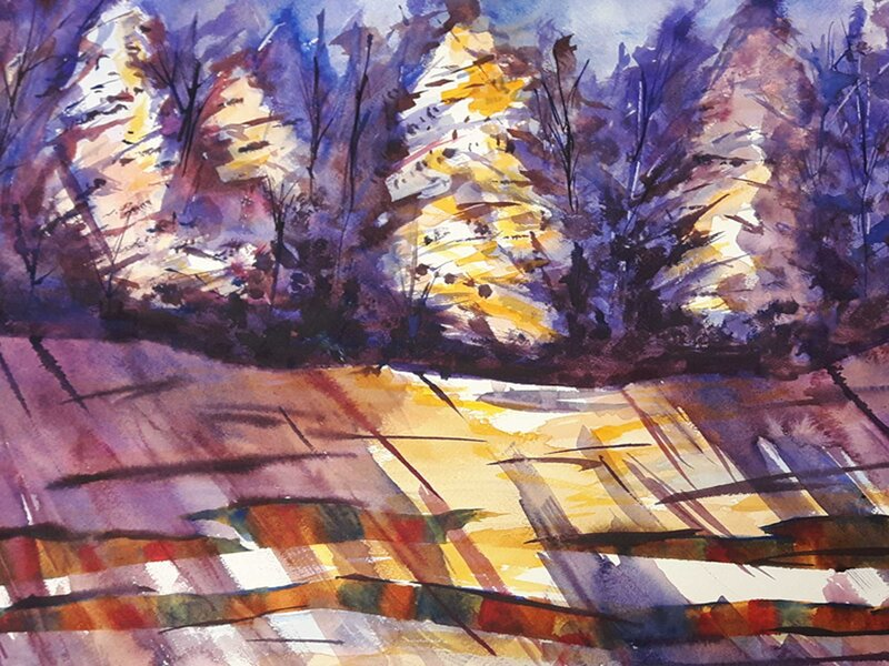 Snow Kissed in Violet - Watercolour Painting on Art Paper by Jessica Brown Art and Fashions.