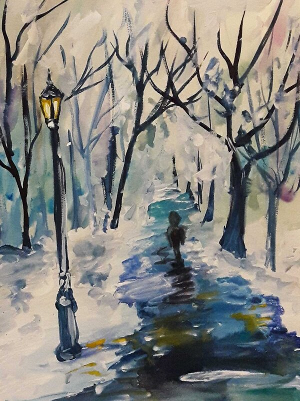 Winter's Tale - Watercolour Painting on Art Paper by Jessica Brown Art and Fashions.