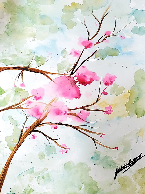 Lovely Blossom Trees - Watercolour Paint