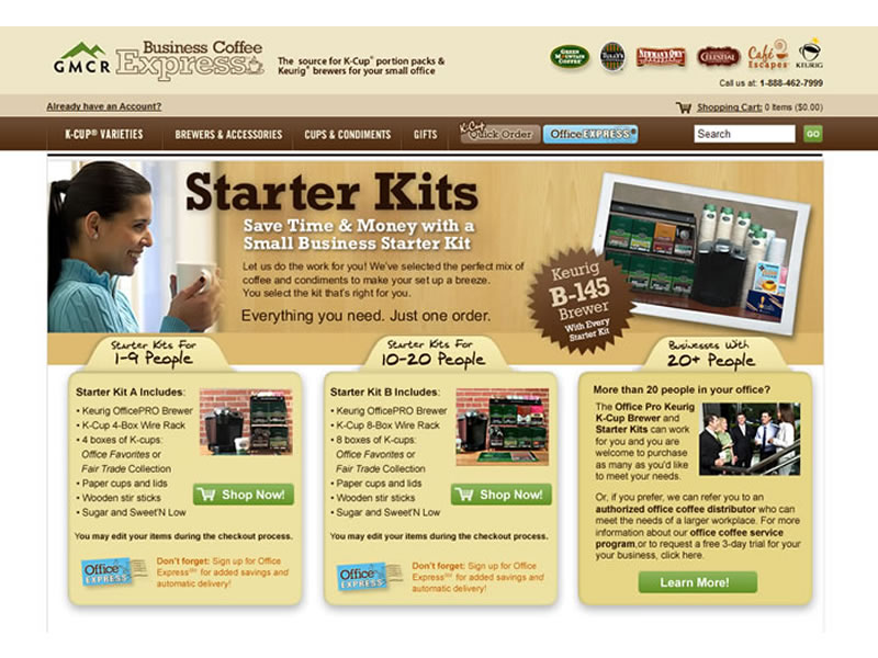 GMCR - Business Coffee Express Starter Kit Landing Page