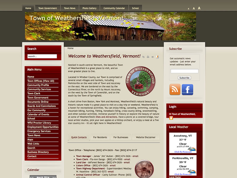 Town of Weathersfield redesign 2014