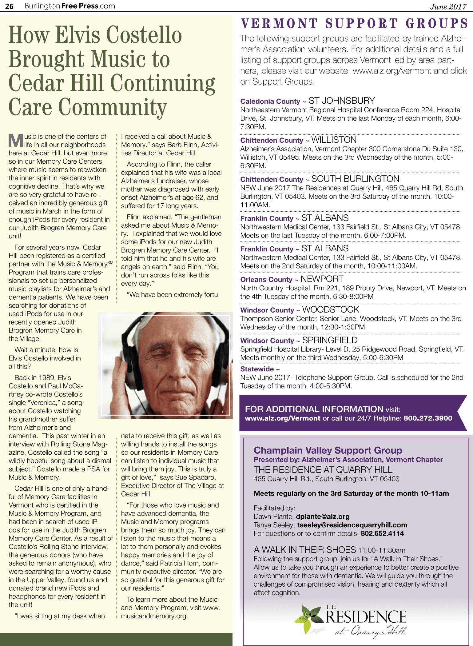 Memory Care Article - Burlington Free Press 2017