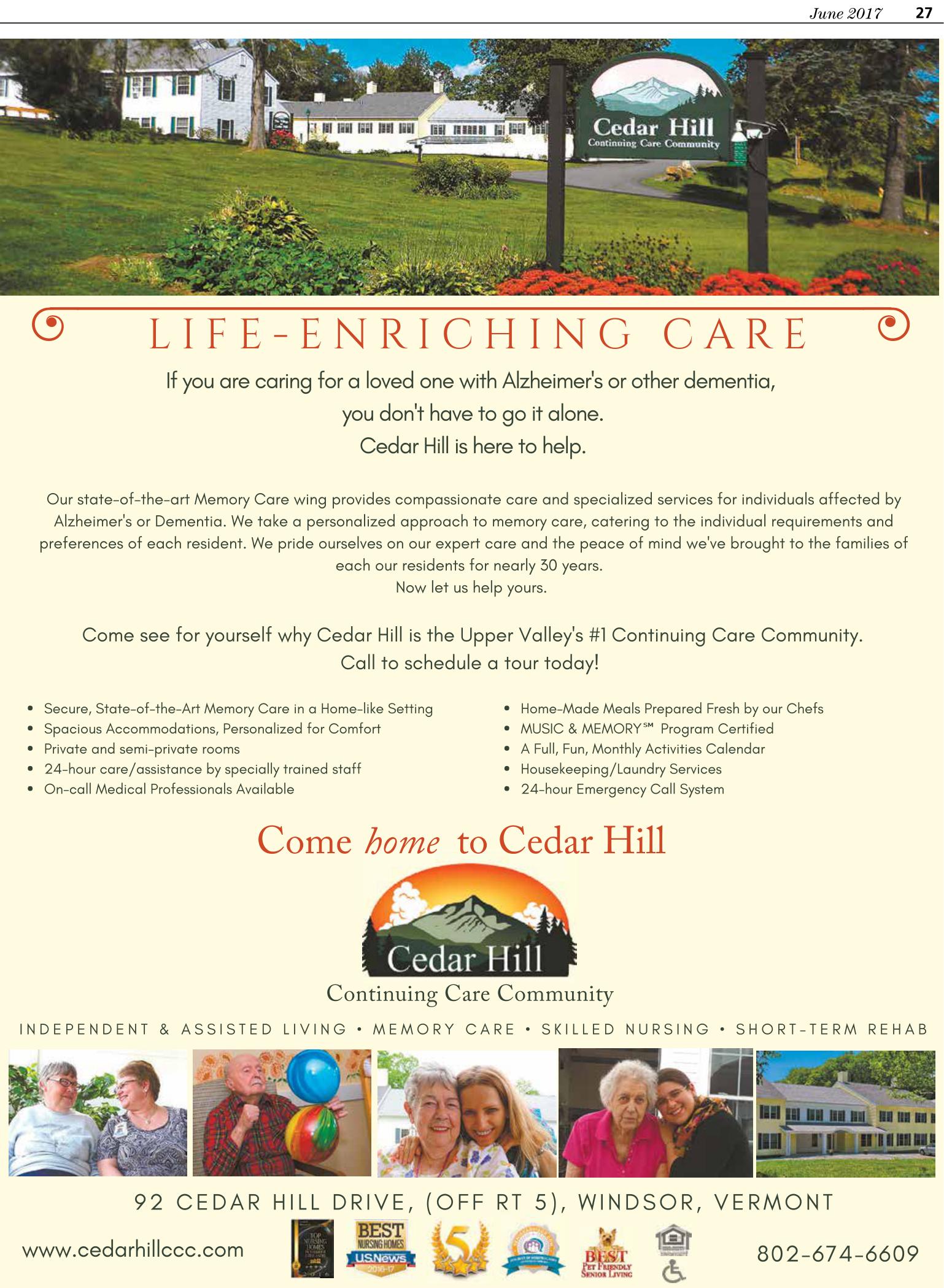 Memory Care Ad - Burlington Free Press 2017