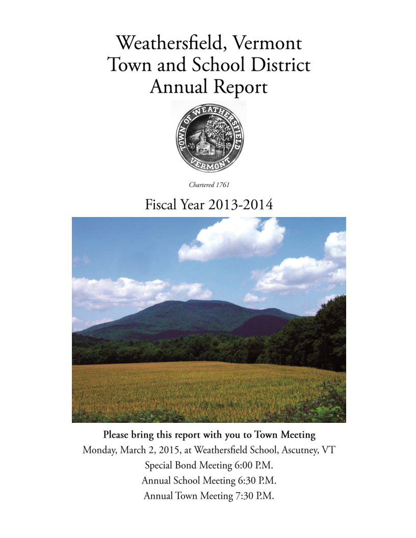 Weathersfield Town Report 2013-14 (Last one, 16 years later)