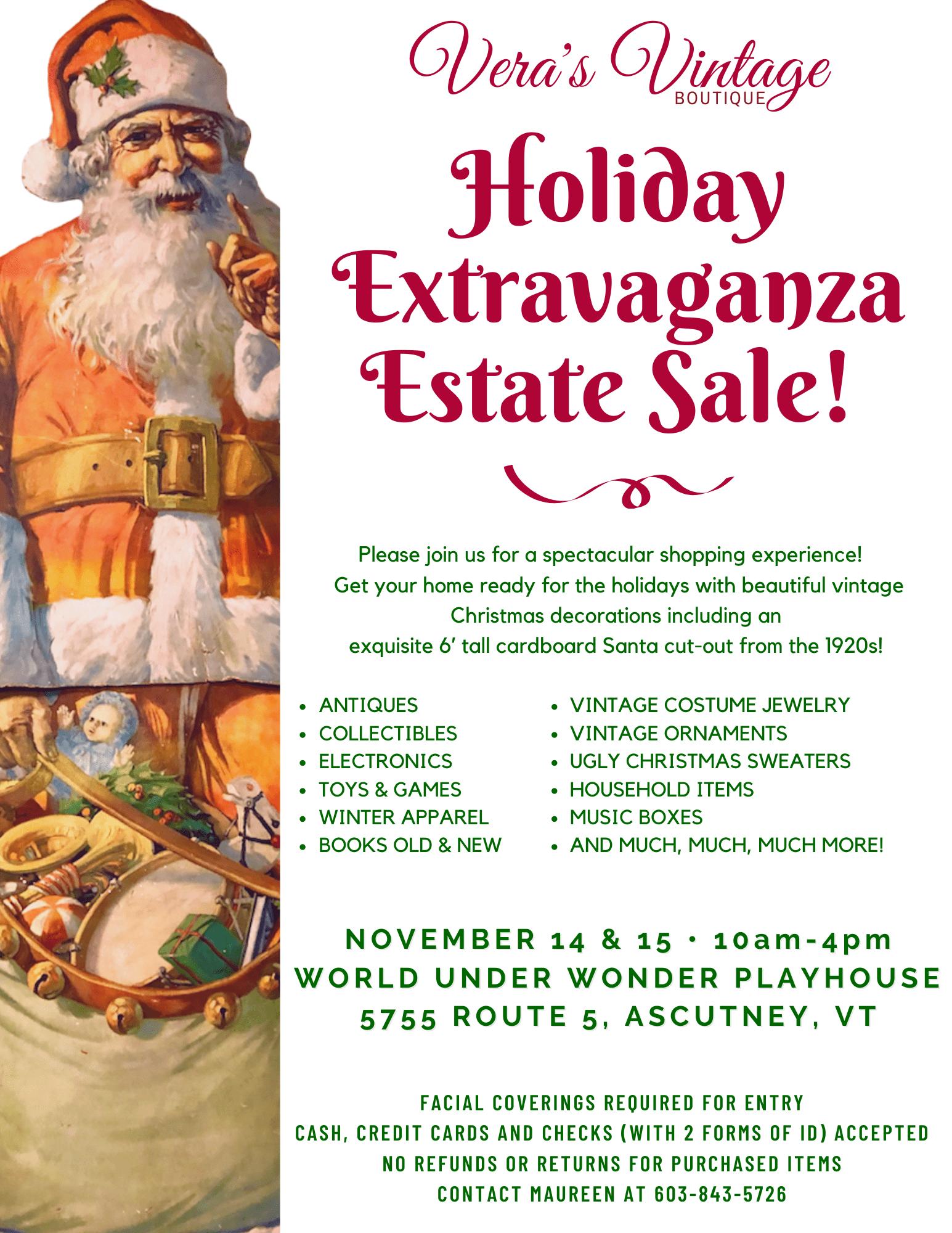 Vera's Vintage Estate Sale Flyer Santa 2020 lite