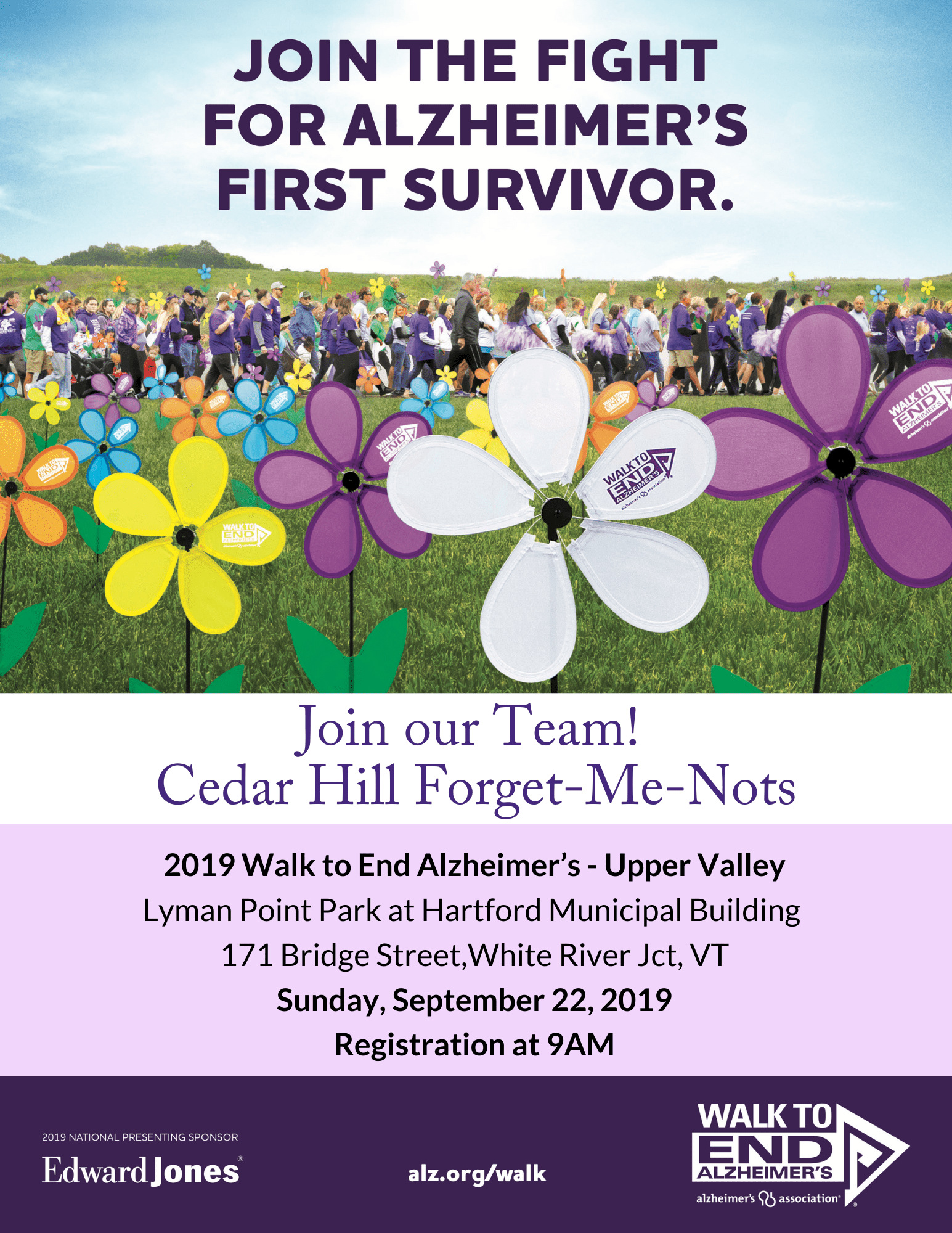 Join our Team Cedar Hill Forget-Me-Nots Flier 2019