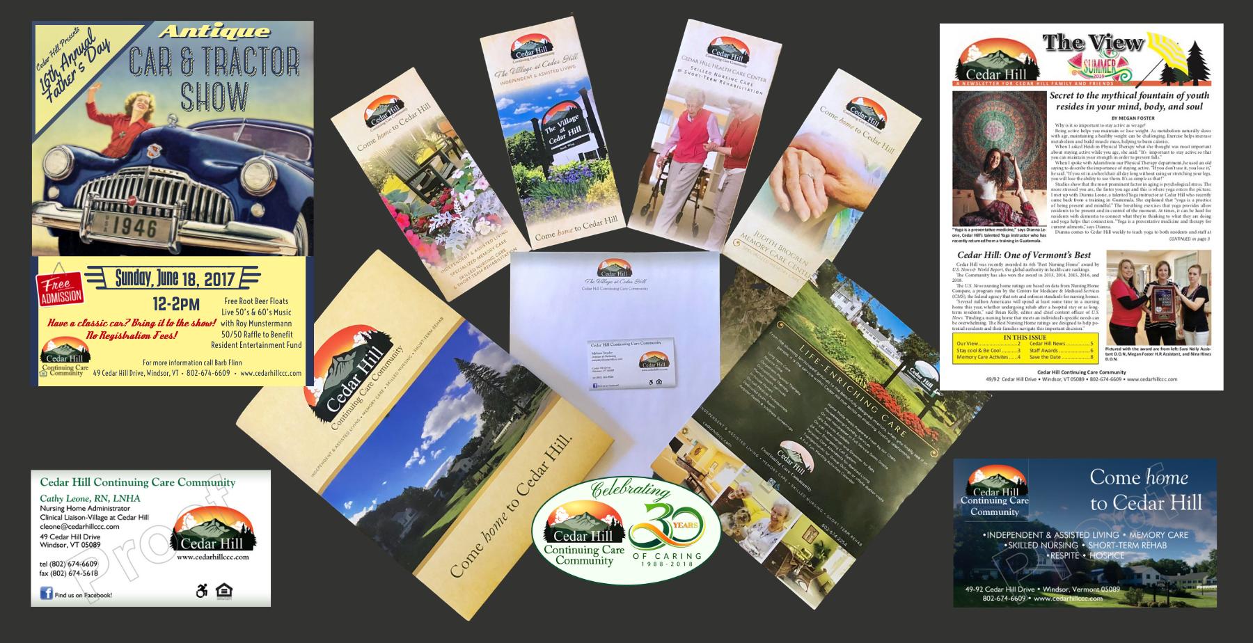 Cedar Hill Print Collateral - Letterhead, Business Cards Brochures, Folder, Newsletters, Flyers