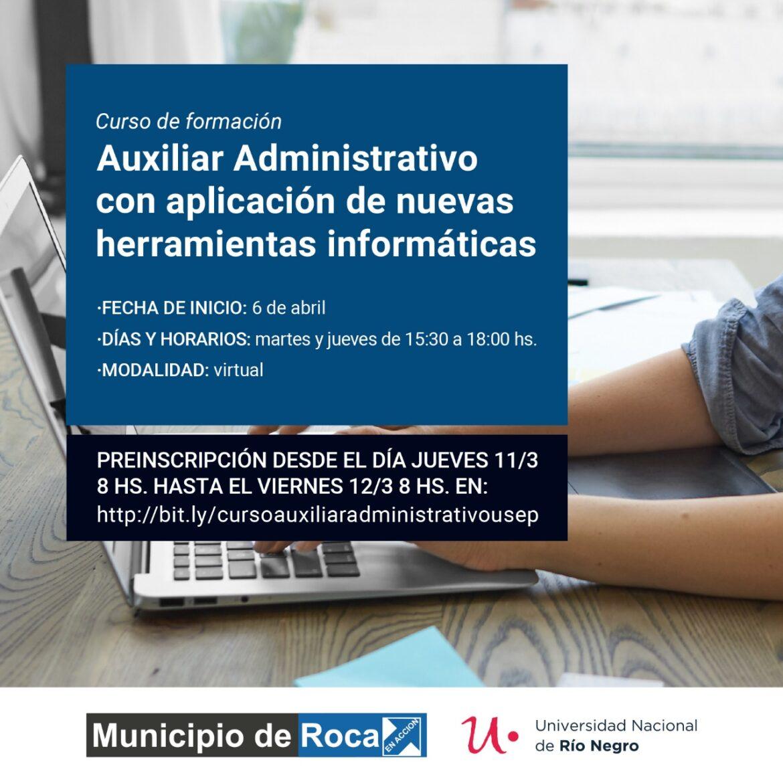 Se brindará un curso de «Auxiliar Administrativo»