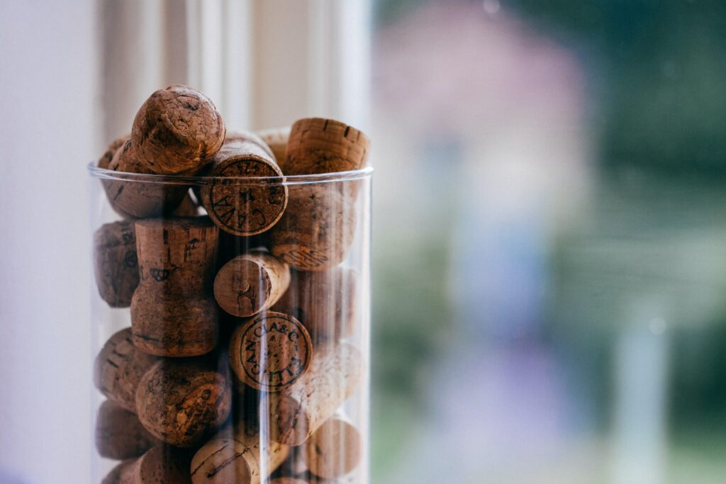 wine corks in a vase