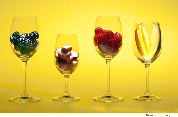 Fruits In Wine Glasses
