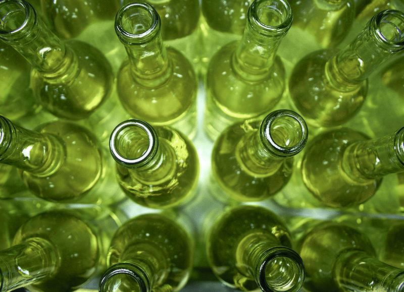 Wine Bottles After Sanitizing Wine Making Equipment