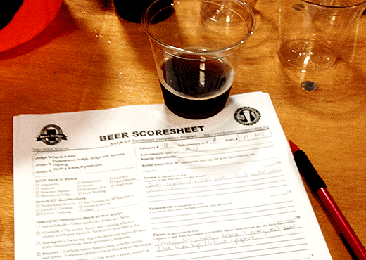 Scoresheet for judging a homebrew competition