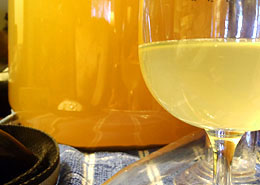 Cloudy Homemade Wine in Plastic Carboy