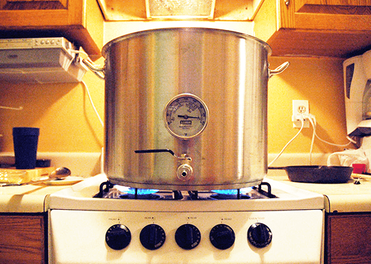 All-Grain Brew Kettle On Stove Brewing Rye Porter