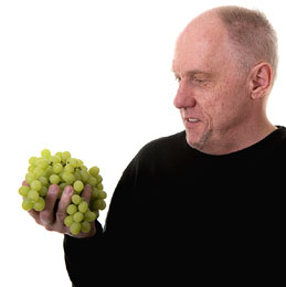 Man Holding Eating Grapes For Making Wine