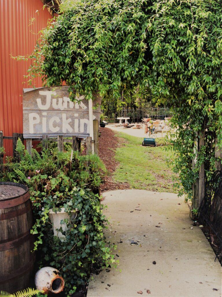 junk sign vintage covered walkway path explore antiques cute junkyard