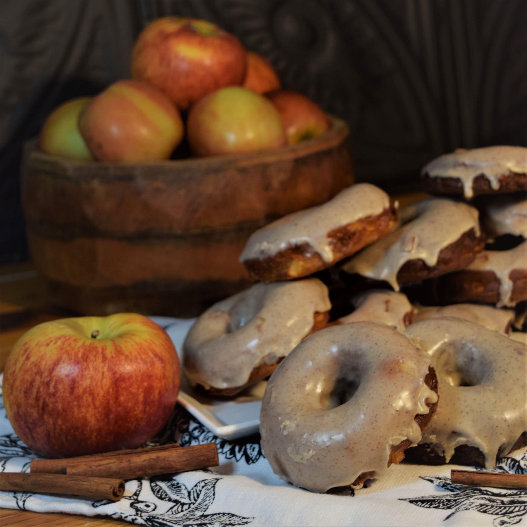 apple cider donuts fall recipe dessert apple wood black cinnamon sticks cozy baking