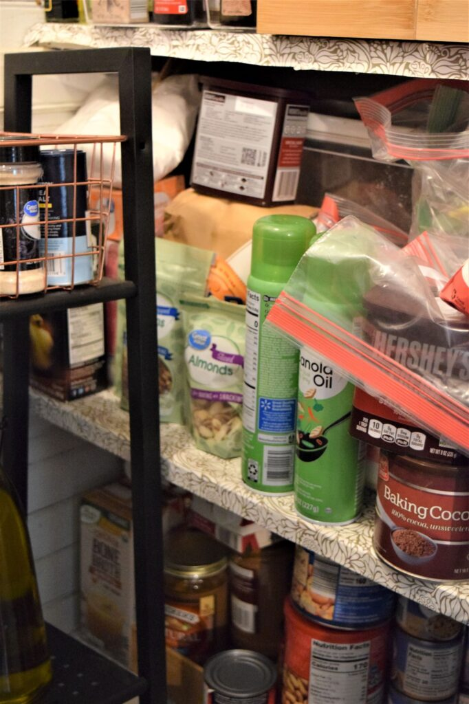 small farmhouse pantry organization black white wood tiny labels jars renovation diy