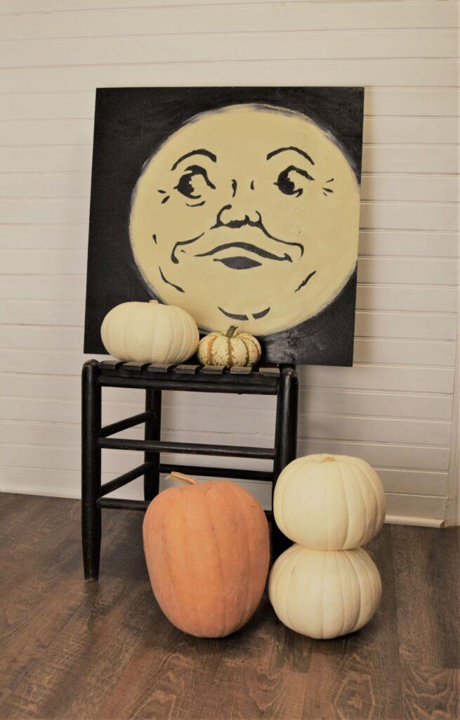 natural halloween mantel décor pumpkins templates diy project boho organic vintage unique farmhouse chair black