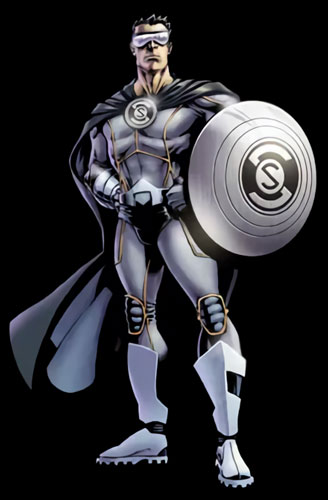 Cartoon Character Holding a Protective Shield