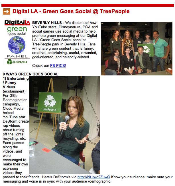 Rynda spoke at Digital LA Green goes social panel.