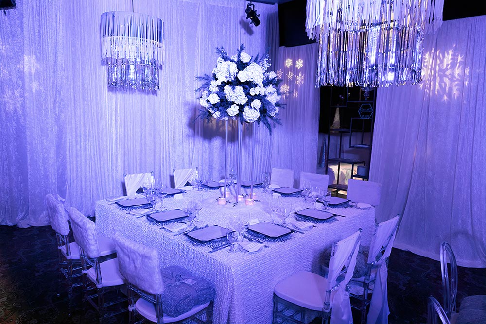 Dining room décor included snowflake gobo lights