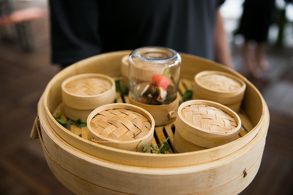 Proof of the Pudding uses mini bamboo steamer baskets to keep individual servings of appetizers hot and safe.