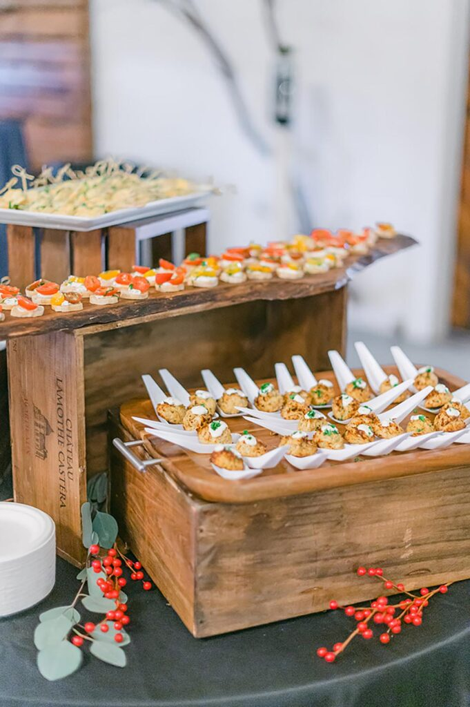For in-person events, Roots Catering is serving appetizers in an array of disposable vessels.