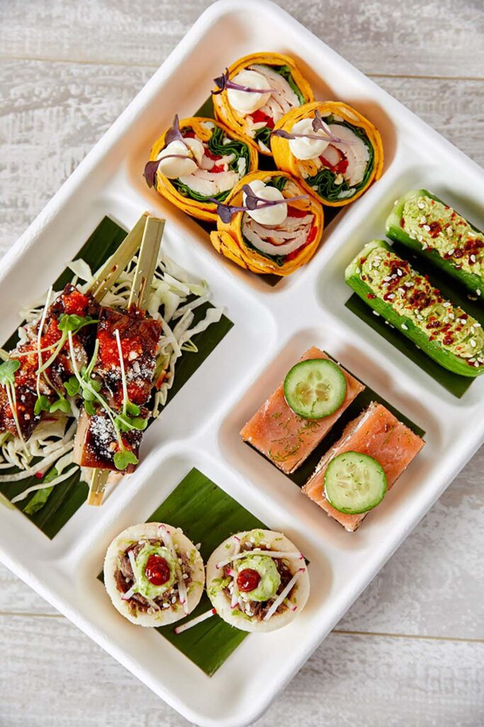 An hors d'oeuvre sampler from the Prepped by Abigail Kirsch virtual events menu.
