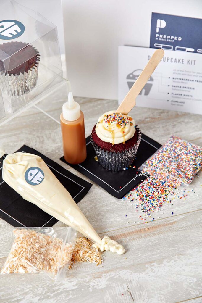 A DIY cupcake kit from the Prepped by Abigail Kirsch virtual events menu