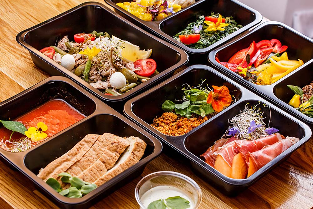 Many caterers have found success with grab-and-go offerings.