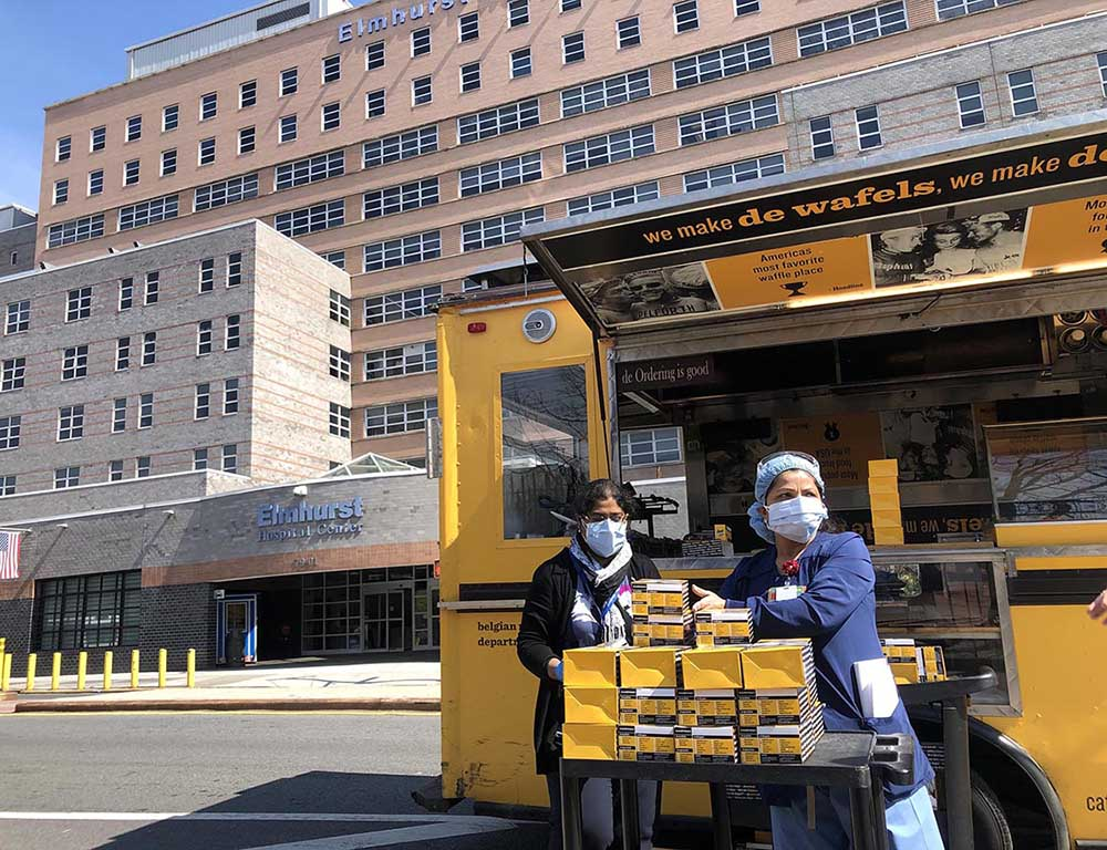 Wafels & Dinges delivered waffle boxes to hospital workers during the pandemic.