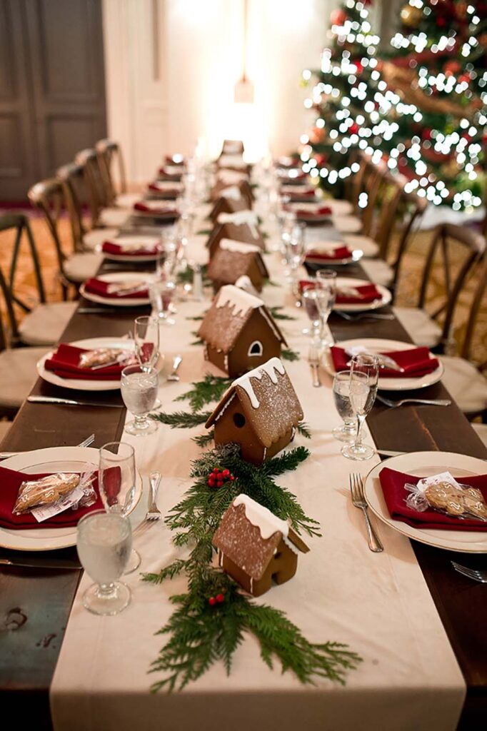 Common seasonal items such as gingerbread houses help create a festive table, says Bridal Bliss/Rock Paper Coin's Sheils. Photo by Mosca Studio