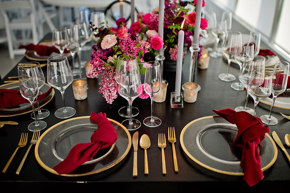 Consider tones of red mixed with burgundies and pinks, advises Bridal Bliss/Rock Paper Coin's Sheils. Photo by Mosca Studio