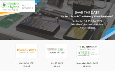Electric and Hybrid Vehicle Technology Expo (Sep 14-16) Novi, MI Booth 810