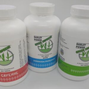 The bottles of Green Supreme barley pills. The one to the left is red for Cayenne, the one in the middle is blue for Chromum picolinate, and the green one is regular barley.