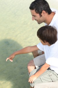 http://www.dreamstime.com/royalty-free-stock-photo-father-son-jetty-sat-image31379935