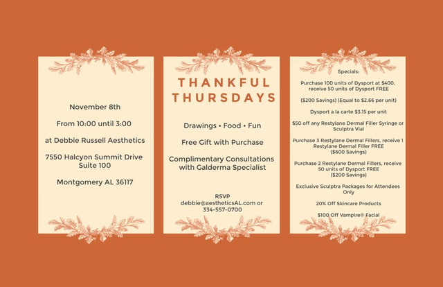Event at Debbie Russell's Aesthetics with Galderma (Restylane, Dysport, Sculptra Aesthetic Savings): Thankful Thursday on Thursday, November 8th