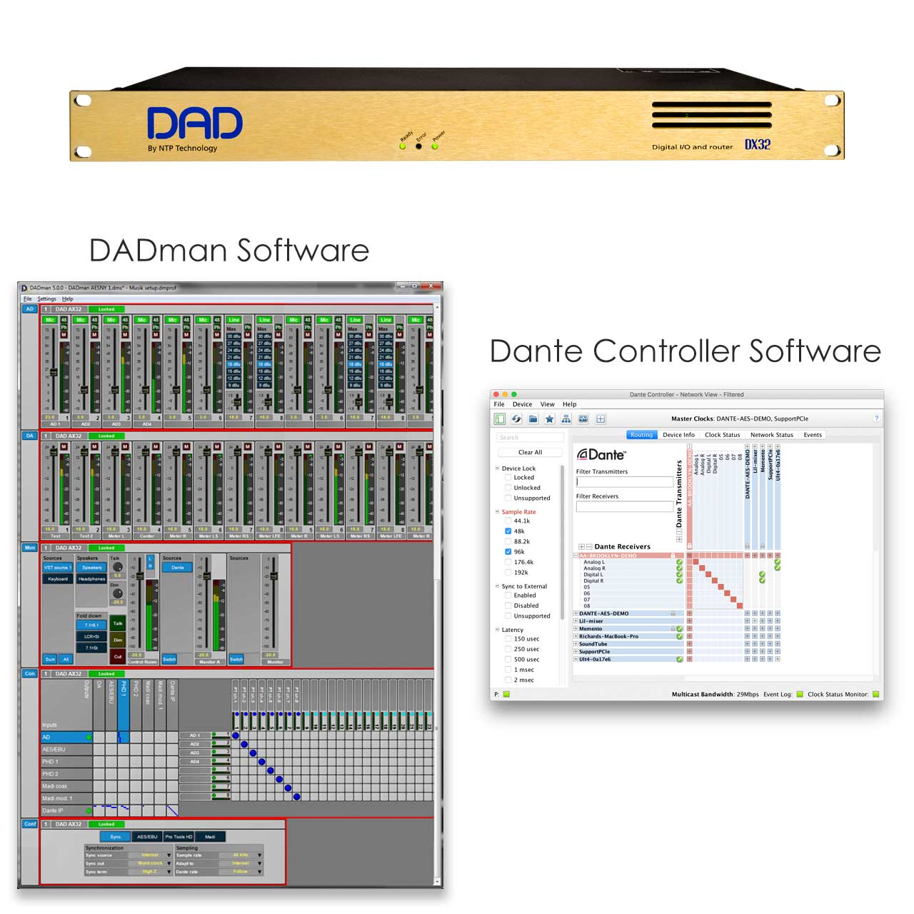 DX32R with DADman Dante Software