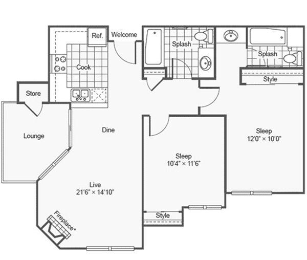 2 Bed, 2 Bath 841 Sq. Ft. floor plan